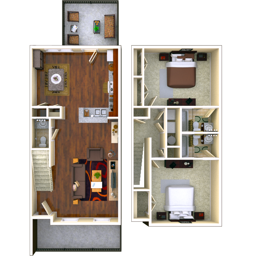 Birchmore 2 BR 2.5 BATH Floor Plan
