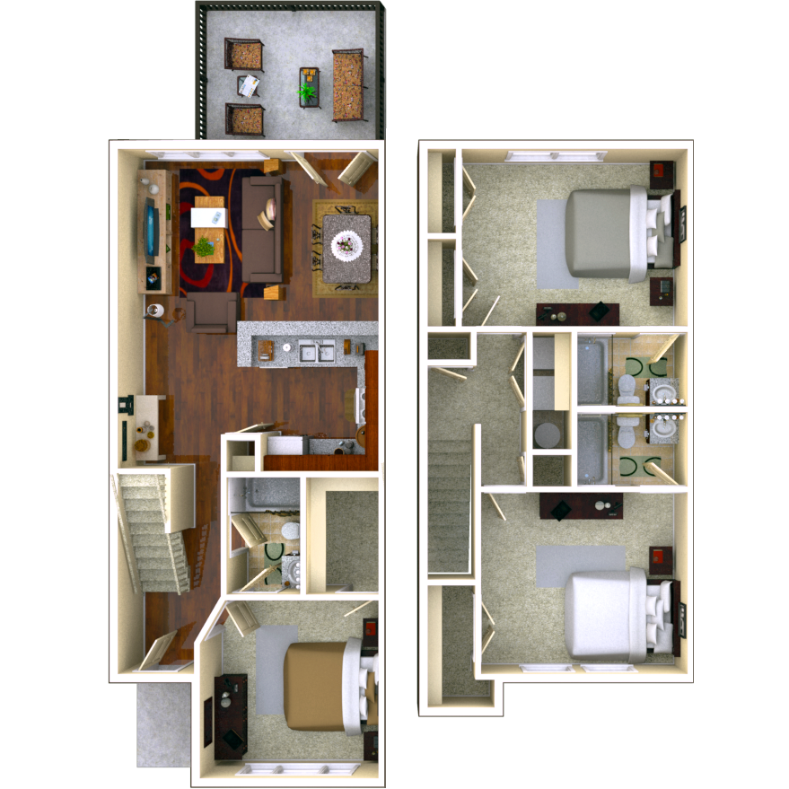 Birchmore 3 BR 3 BATH Floor Plan