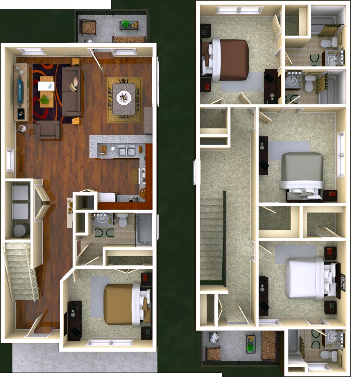 Bloomfield 4 BR 4 BATH Floor Plan