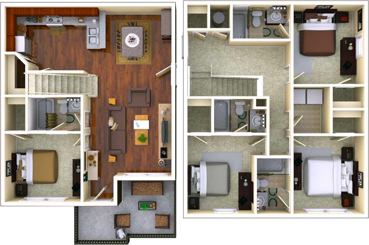 Courtyard 4 BR 4 BATH Floor Plan