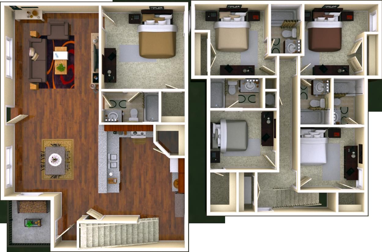 Courtyard 5 BR 5 BATH Floor Plan
