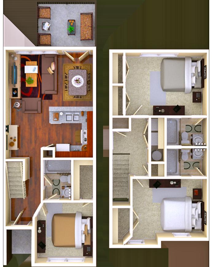 Fairview 3 BR 3 BATH Floor Plan