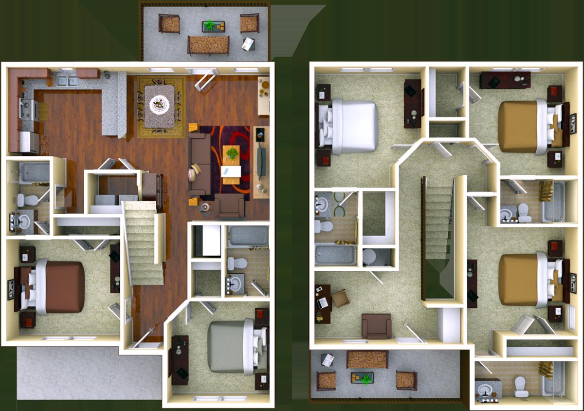 Hawthorne 5 BR 5 BATH Floor Plan