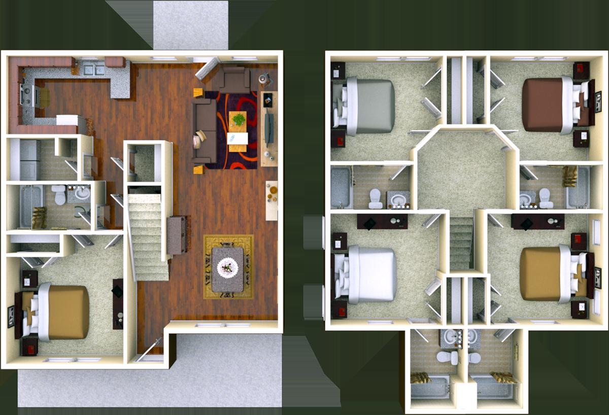 Magnolia 5 BR 5 BATH Floor Plan