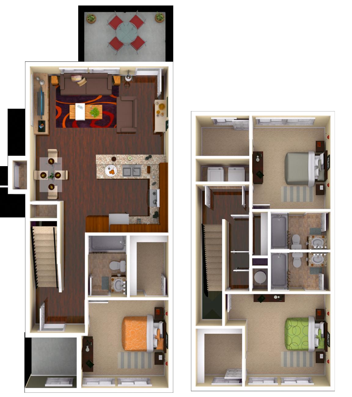 Milledge 3 BR 3 BATH Floor Plan